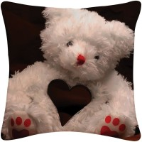 Amore Decor Teddy With Heart Printed Cushions Cover (40.64*40.64)