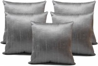 ZIKRAK EXIM Plaid Cushions Cover (Pack Of 5, 40 Cm*40 Cm, Silver)