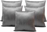 ZIKRAK EXIM Plaid Cushions Cover (Pack Of 5, 40 Cm*40 Cm, Silver)