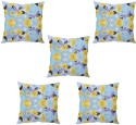 StyBuzz Blue Floral Abstract Art Cushions Cover - Pack Of 5