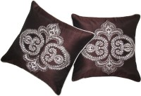 Zikrak Exim Embroidered Cushions Cover (Pack Of 2, 40 Cm*40 Cm, Brown)