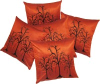 Zikrak Exim Embroidered Cushions Cover (Pack Of 5, 40 Cm*40 Cm, Peach)