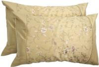Milano Home Embroidered Pillows Cover Pack Of 2, 48 Cm*76 Cm, Gold - CPCEGVUDWCHH6RKC