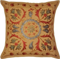 Lal Haveli Handmade Embroidered Work Cotton 24x24 Inches Embroidered Cushions Cover (Cushion Cover, 41 Cm*41 Cm)