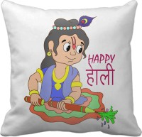 Tiedribbons Lord Little Krishna Happy Holi Backround Geometric Cushions Cover (40 Cm*40 Cm, Multicolor)