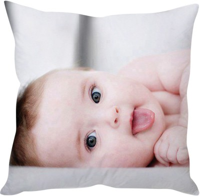StyBuzz Tounge Sticking Out Baby (12x12) Cushions Cover (Pack Of 1)