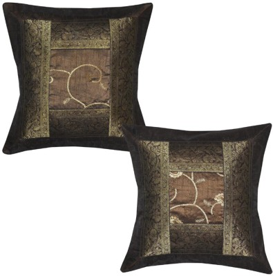 Lal Haveli Ethnic Silk Brocade 16x16 Inches Abstract Cushions Cover (Pack Of 2, 41 Cm*41 Cm, Brown)