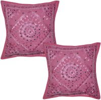 Lal Haveli Embroidered Cushions Cover (Pack Of 2, 41 Cm*41 Cm, Pink)