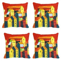 StyleNcomfort Multi Houses Digitally Printed (16x16) Inches Printed Cushions Cover (Pack Of 4, 40*40, Multicolor)