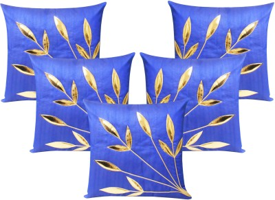 Zikrak Exim Embroidered Cushions Cover (Pack Of 5, 30 Cm*30 Cm, Blue)