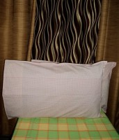 Amita Home Furnishing Striped Pillows Cover Pack Of 2, 43 Cm*69 Cm, White