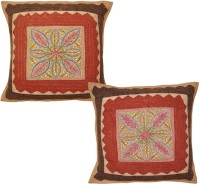 Lal Haveli Rajasthani Ethnic Colorful Work Cotton 16x16 Inches Embroidered Cushions Cover (Pack Of 2, 41 Cm*41 Cm, Multicolor)