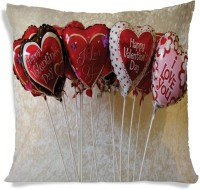 AMY Valentines Day Heart Balloon Multicolor Printed Cushions Cover (40.64 Cm*40.64 Cm)
