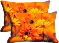Mesleep Sunflower Digitally Printed Self Design Pillows Cover (2 Cushion Pillow Cover, 30.48*45.72)