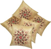 Zikrak Exim Embroidered Cushions Cover (Pack Of 5, 40 Cm*40 Cm, Beige)