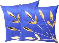 Zikrak Exim Embroidered Cushions Cover (Pack Of 2, 30 Cm*30 Cm, Blue)