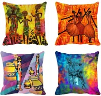 Mesleep Abstract Digitally Printed Cushions Cover (Pack Of 4)