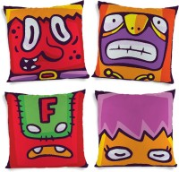 ShopMantra Monster Expressions Printed Cushions Cover (4 Cushion Pillow Cover, 40.64 Cm*40.64 Cm)