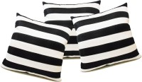 ZIKRAK EXIM Straight Stripe Black N White Striped Cushions Cover (Pack Of 3, 40*40)