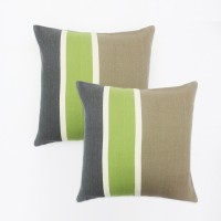Blueberry Home Striped Striped Cushions Cover (Pack Of 2, 40 Cm*40, Beige, Green)