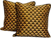 Asabãb Geometric, Chevron Cushions, Pillows Cover (Pack Of 2, 40 Cm*40 Cm, Black, Gold)