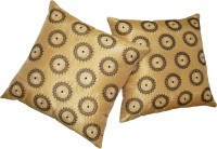 Zikrak Exim Embroidered Cushions Cover (Pack Of 2, 40 Cm*40 Cm, Beige)