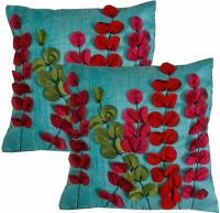 Dekor World Embroidered Cushions Cover (Pack Of 2, 40 Cm*40 Cm, Blue)