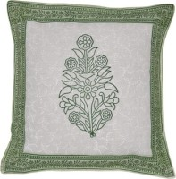 Lal Haveli Rajasthani Flower Design Block 16x16 Inches Printed Cushions Cover (Pack Of 2, 41 Cm*41 Cm, Green)