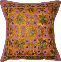 Lal Haveli Mirror Silk Embroidered Work Cotton Pillow Cover 16x16 Inches Embroidered Cushions Cover (41 Cm*41 Cm, Multicolor)