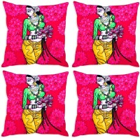Aashi Homes Printed Pillows Cover Pack Of 4, 30 Cm*30 Cm, Pink