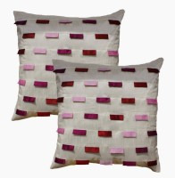 Dekor World Multi Pleated Collection Plaid Cushions Cover (Pack Of 2, 60*60)