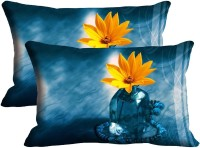 Mesleep Yellow Flower Digitally Printed Pillows Cover (Pack Of 2)