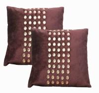 Dekor World Velvet Diamond Bonnaza Embroidered Cushions Cover (Cushion Pillow Cover, 40*40)