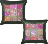 Lal Haveli Silk Brocade Abstract Cushions Cover (Pack Of 2, 43 Cm*43 Cm, Green)