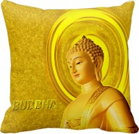Tiedribbons Yellow Lord Buddha Graphic, Geometric, Printed, Self Design, Floral Cushions Cover (1 Cushion Cover, 40*40)