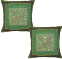 Lal Haveli Ethnic Colorful Thread Floral Design Work Cotton 16x16 Inches Embroidered Cushions Cover (Pack Of 2, 41 Cm*41 Cm, Multicolor)