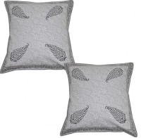 Lal Haveli Rajasthani Block Cotton 16x16 Inches Printed Cushions Cover (Pack Of 2, 41 Cm*41 Cm, Grey)