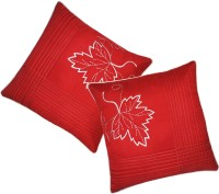 Zikrak Exim Embroidered Cushions Cover (Pack Of 2, 50 Cm*50 Cm, Red)