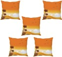 StyBuzz Orange Sunny Day Cushions Cover - Pack Of 5