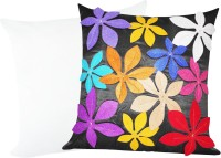 Zikrak Exim Felt Flower Patch With Filler Cushions Cover (Pack Of 2)