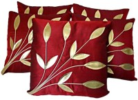 Car Vastra Leaves Patch Floral Cushions Cover (Cushion Pillow Cover Set Of 5, 40 Cm*40 Cm)