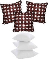 Zikrak Exim Laser Cut Floral With Filler Floral Cushions Cover (Pack Of 6, 40*40, Brown, White)