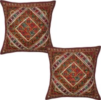 Lal Haveli Embroidered Cushions Cover (Pack Of 2, 41 Cm*41 Cm, Maroon) - CPCE8AVZX8ZVNZRG