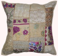Lal Haveli Beautiful Handmade Traditional Khambadia Patchwork Cotton 24x24 Inches Abstract Cushions Cover (Cushion Cover, 60.96 Cm*60.96 Cm)