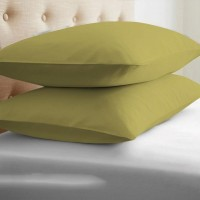 LNT Linen Solid Cushions, Pillows Cover (Pack Of 2, 43.2 Cm*69 Cm, Gold)