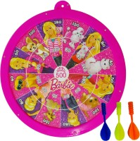 Barbie Metallic Round Dart And Slides & Ladders Game With 3 Darts , 4 Pawns And 1 Dice Soft Tip Dart (Pack Of 1)