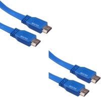 Storite 2 Pack Super Flat Hdmi Male To Male Tv Lead 1.4v High Speed Ethernet 3d Full Hd 1080p (150cm - 4.5foot - 1.5m) Cable (Blue)