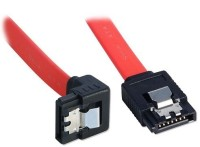 Storite SATA 3 Cable With Locking Latch Straight To Right Angle 90 Degree (1 Pack Sata 3 Data Cable) Power Cord (Red)