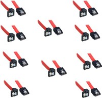 Storite SATA 3 Cable With Locking Latch Straight To Right Angle 90 Degree (10 Pack Sata3 Data Cable) Power Cord (Red)