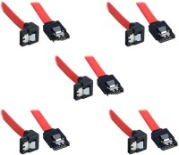 Storite SATA 3 Cable With Locking Latch Straight To Right Angle 90 Degree (5 Pack Sata 3 Data Cable) Power Cord (Red)